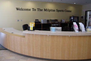 Photo of sports center front desk area