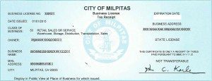 City of Milpitas Business License Sample