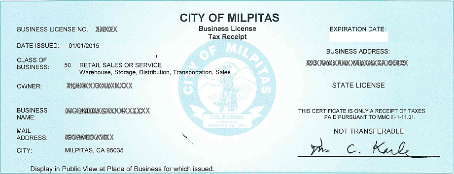 Business License Center City Of Milpitas
