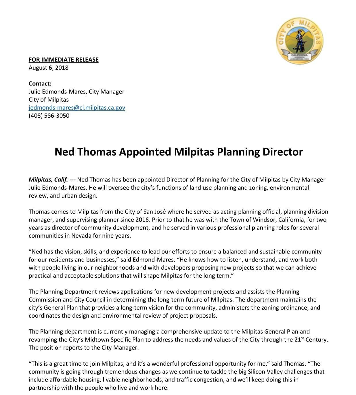 Ned Thomas Appointed Milpitas Planning Director | City of Milpitas