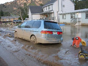 Photo of flooded car